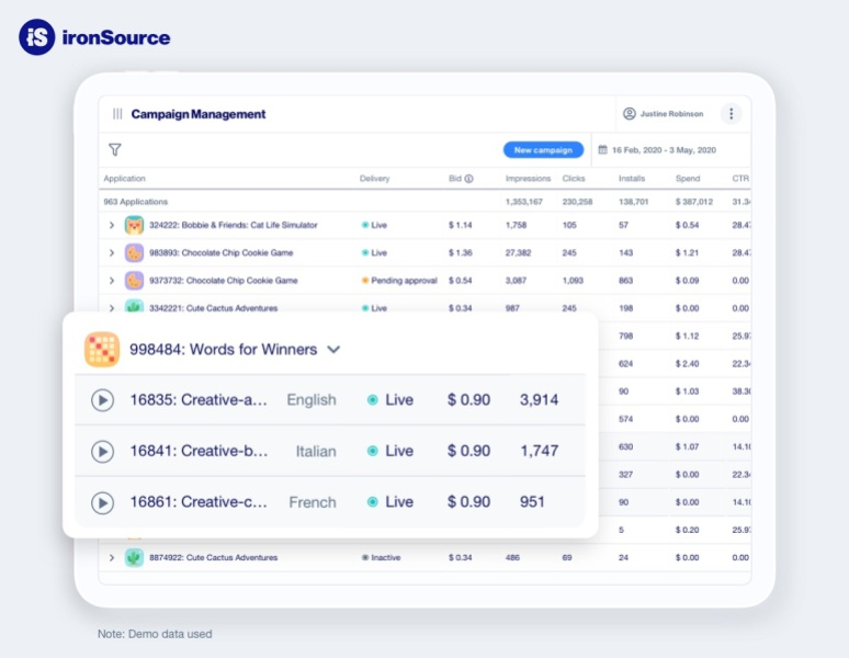 IronSource call detect how well each creative asset performs in ads.