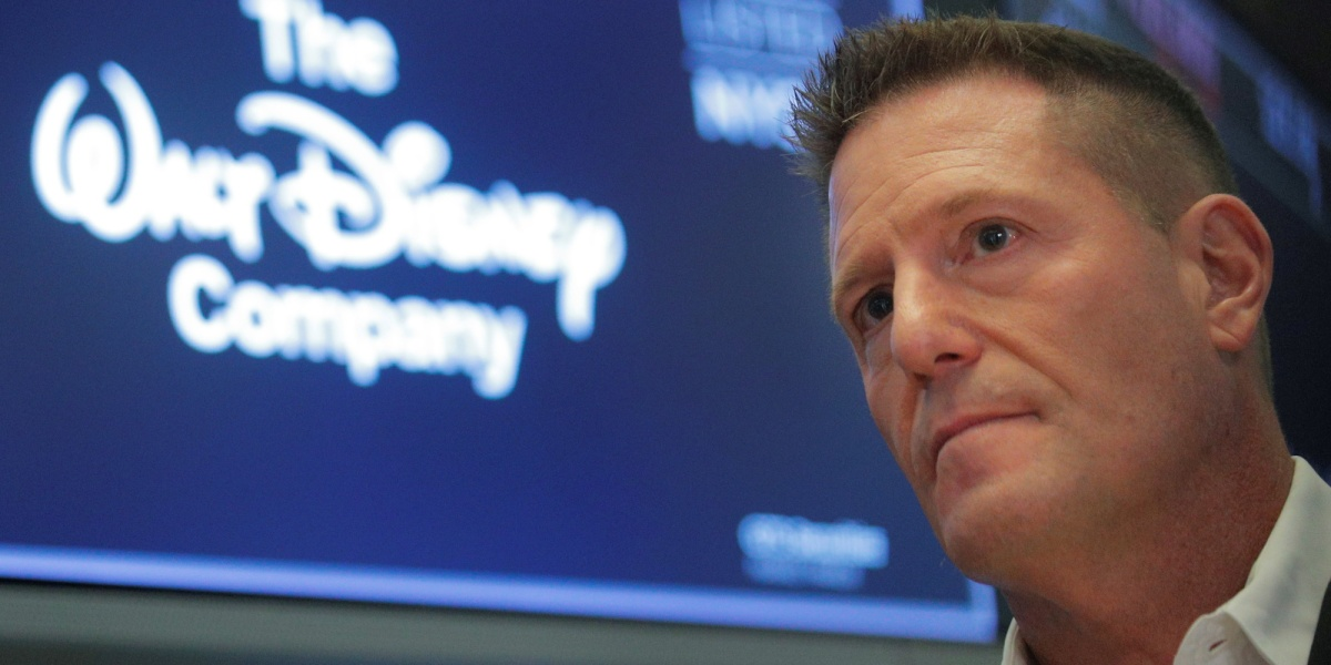 Kevin Mayer, Disney's head of direct-to-consumer division, on the floor at the New York Stock Exchange