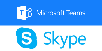 Microsoft Teams and Skype logos