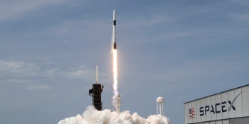 A SpaceX Falcon 9 rocket and Crew Dragon spacecraft carrying NASA astronauts Douglas Hurley and Robert Behnken lifts off during NASA's SpaceX Demo-2 mission