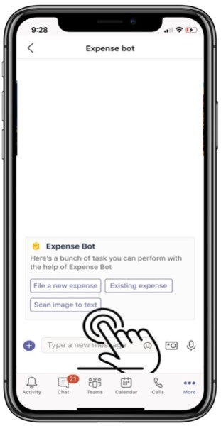 Microsoft Teams app mobile camera