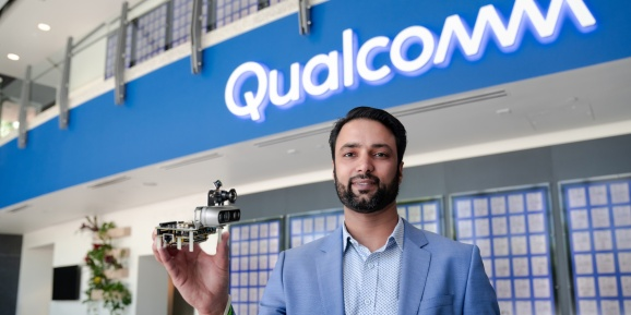 Dev Singh, Qualcomm's head and GM of robotics, holding the RB5 kit