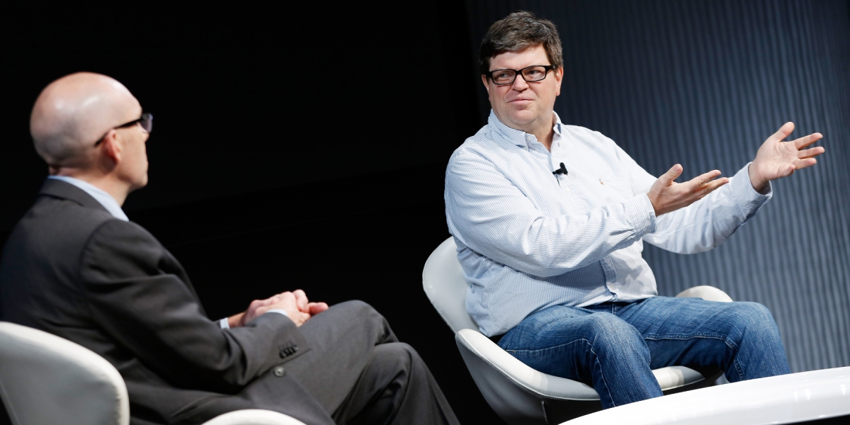 Facebook chief AI scientist Yann LeCun speaks with Cade Metz at a 2016 Wired event
