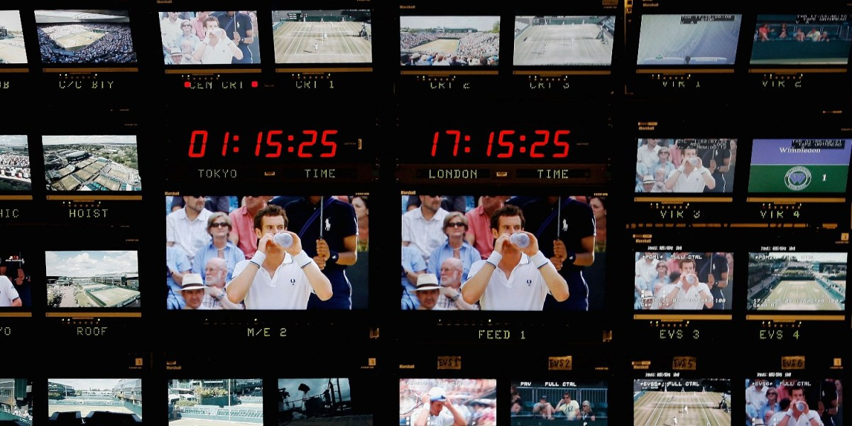 TV monitors inside the broadcast centre on Day Eleven of the Wimbledon Lawn Tennis Championships at the AELTC on July 3, 2009 in London, England.