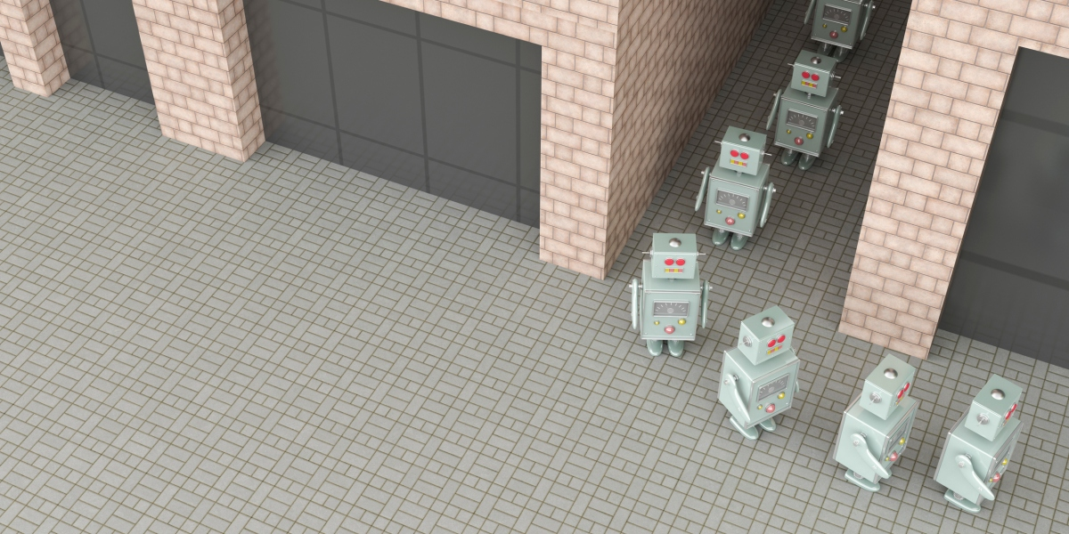 Group of robots walking through passageway in a row