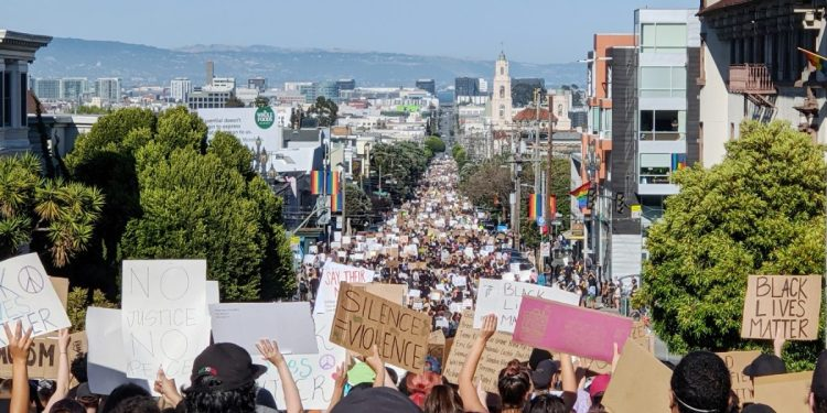 Black Lives Matter protest against white supremacy held June 3, 2020 in San Francisco