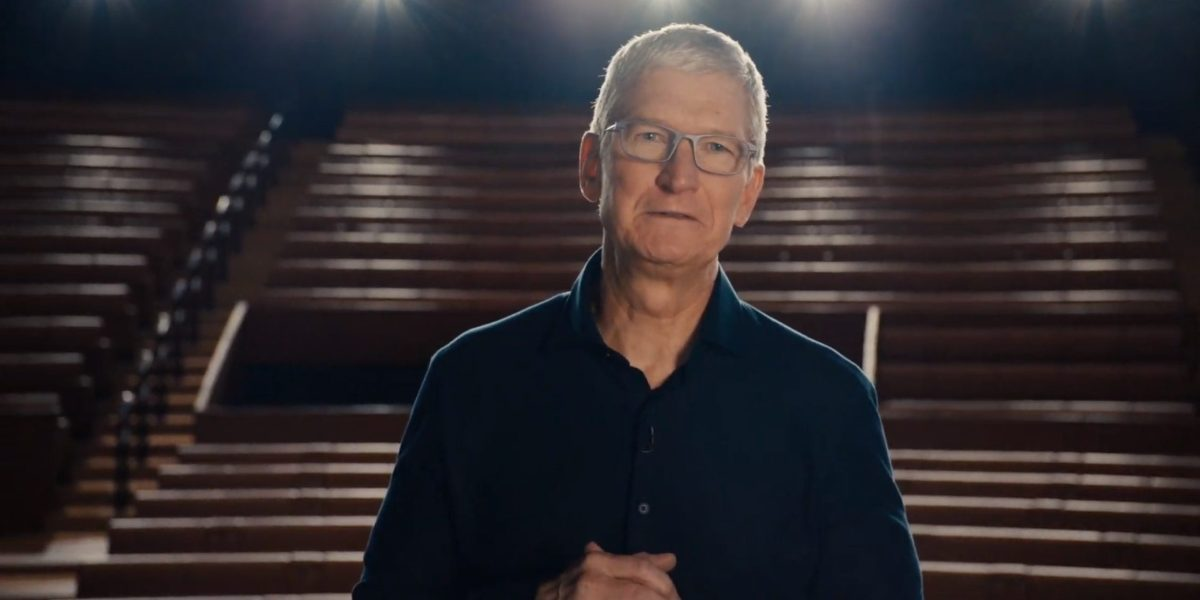 CEO Tim Cook talking at Apple's first virtual WWDC event