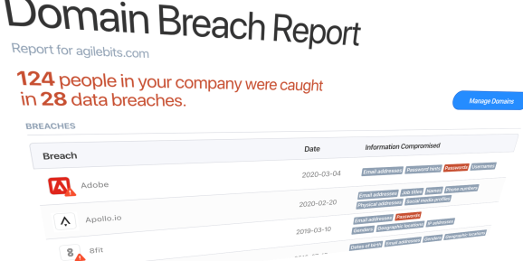 1Password breach report powered by Have I Been Pwned