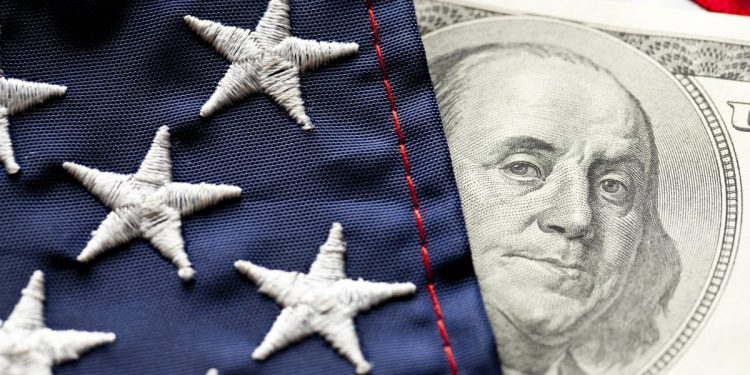 Close-up of Money and Flag.