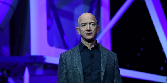 Founder, Chairman, CEO and President of Amazon Jeff Bezos unveils his space company Blue Origin's space exploration lunar lander rocket called Blue Moon during an unveiling event