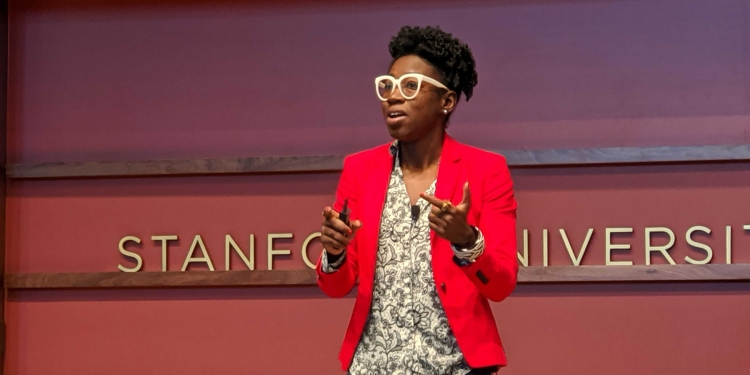 Algorithmic Justice League founder Joy Buolamwini discusses the Gender Shades project in a presentation at