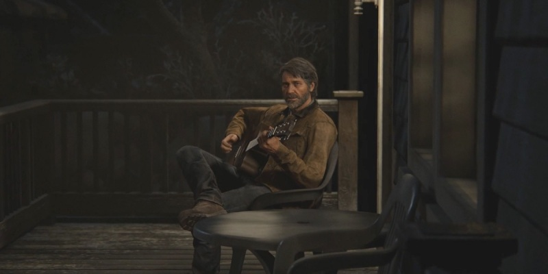 Joel plays a guitar at the start of The Last of Us Part II.
