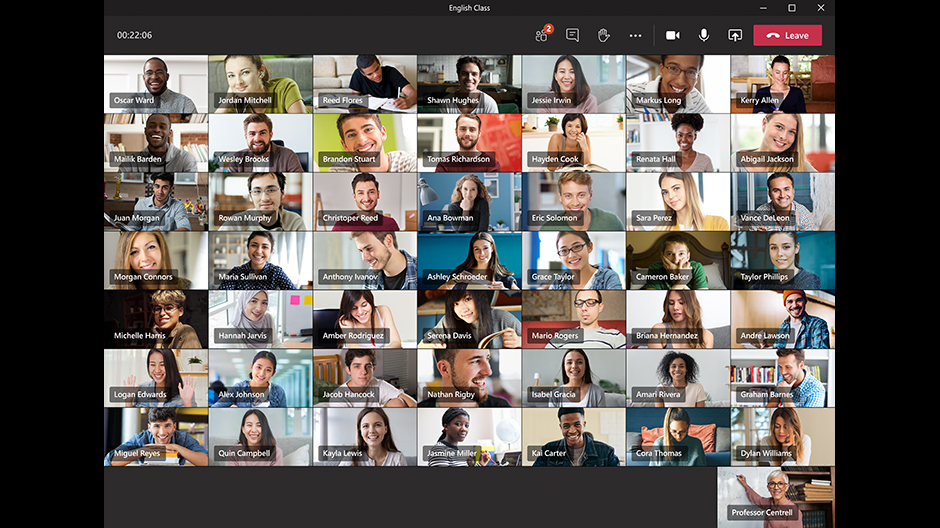 Microsoft Teams 49 video call participants
