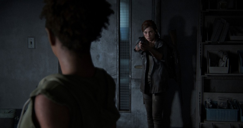 Ellie corners Nora at a hospital in The Last of Us Part II.
