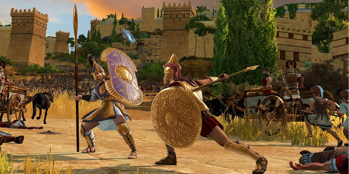 Achilles (right) squares off in a duel with Hector of Troy.