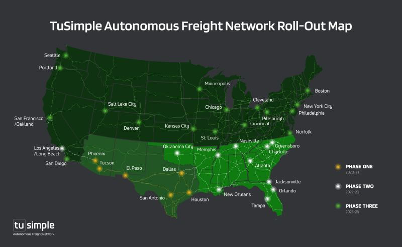 TuSimple plans autonomous truck network backed by UPS