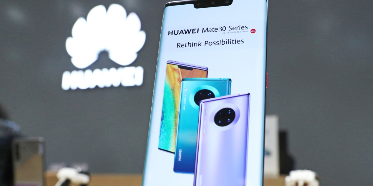 A Huawei Mate 30 Pro smartphone on display in a Huawei brand store at the Aviapark shopping mall, Moscow.