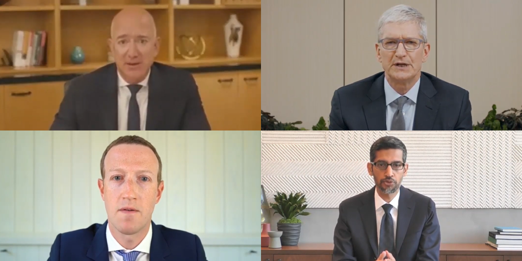 Apple CEO Tim Cook compared to Amazon CEO Jeff Bezos, Facebook CEO Mark Zuckerberg, and Google CEO Sundar Pichai testify virtually on Webex.