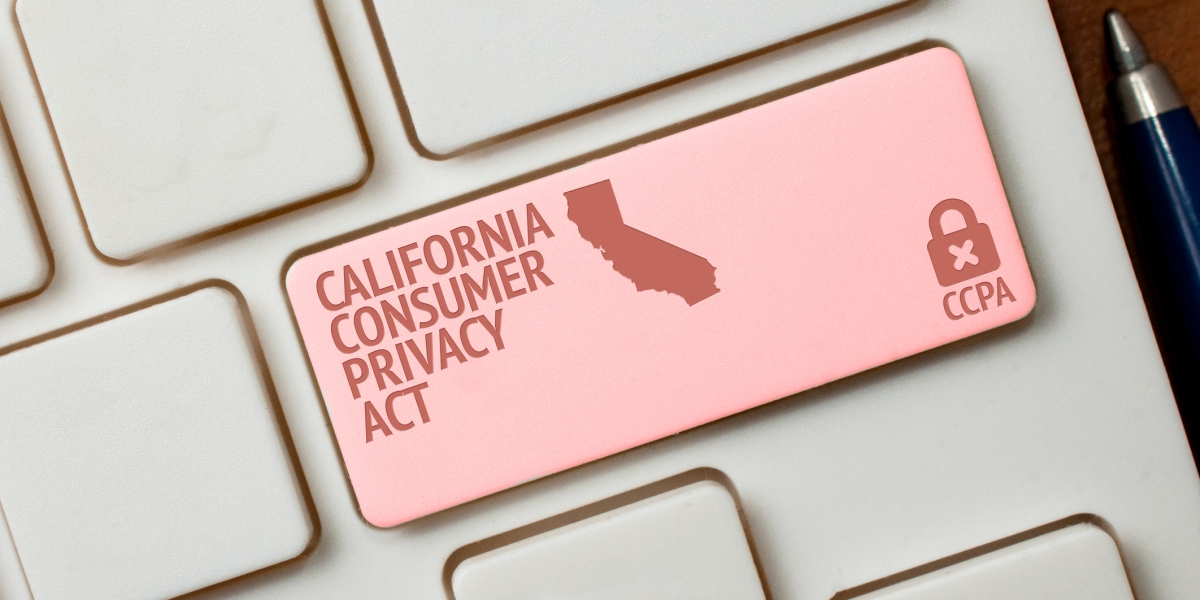 CCPA concept: a white computer keyword with a lock, a California shape and the text California consumer privacy act