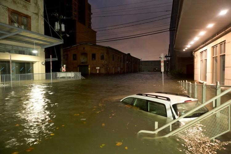 Flooded Car on an Urban Street