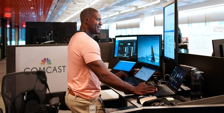 An engineer at the Comcast Technology Center in Philadelphia.