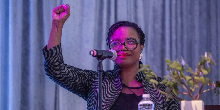 Dr. Fallon Wilson speaking at an Afrotech conference session helpd at the Kapor Center in Oakland, California in fall 2019