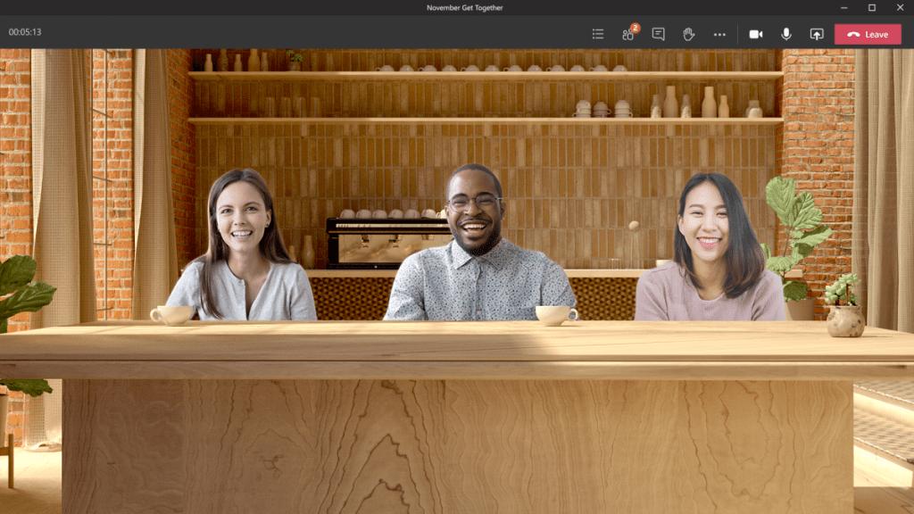 Microsoft Teams Together Mode coffee shop