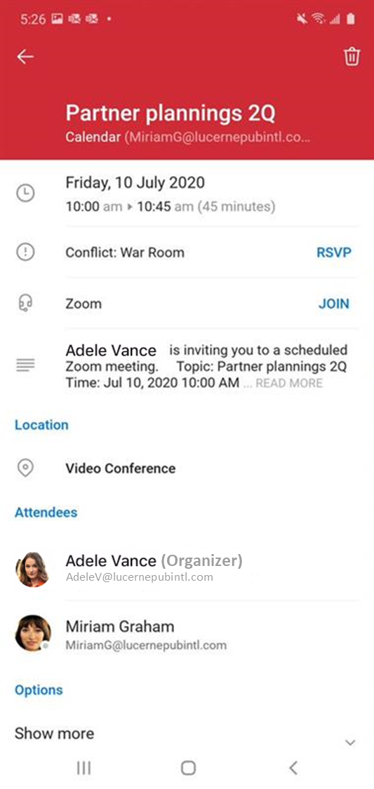 Outlook one-tap join Zoom and Webex
