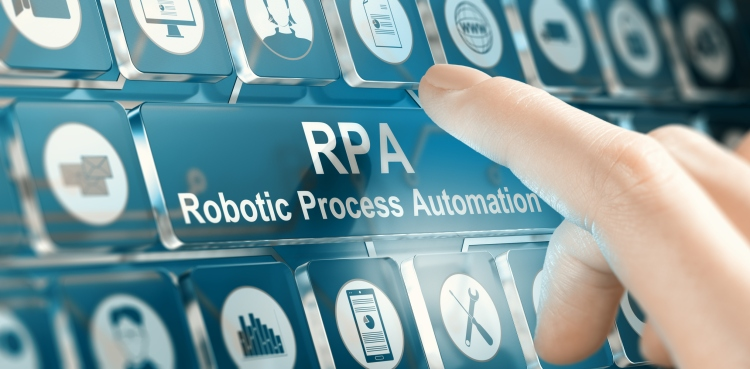 Woman using a RPA Robotic Process Automation system by pressing a button.