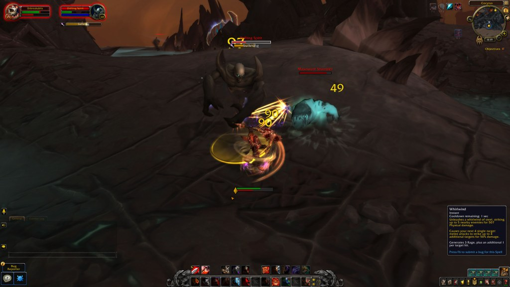 Screenshot of player casting Whirlwind