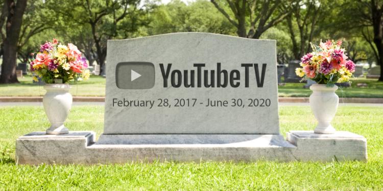 YouTube TV tombstone