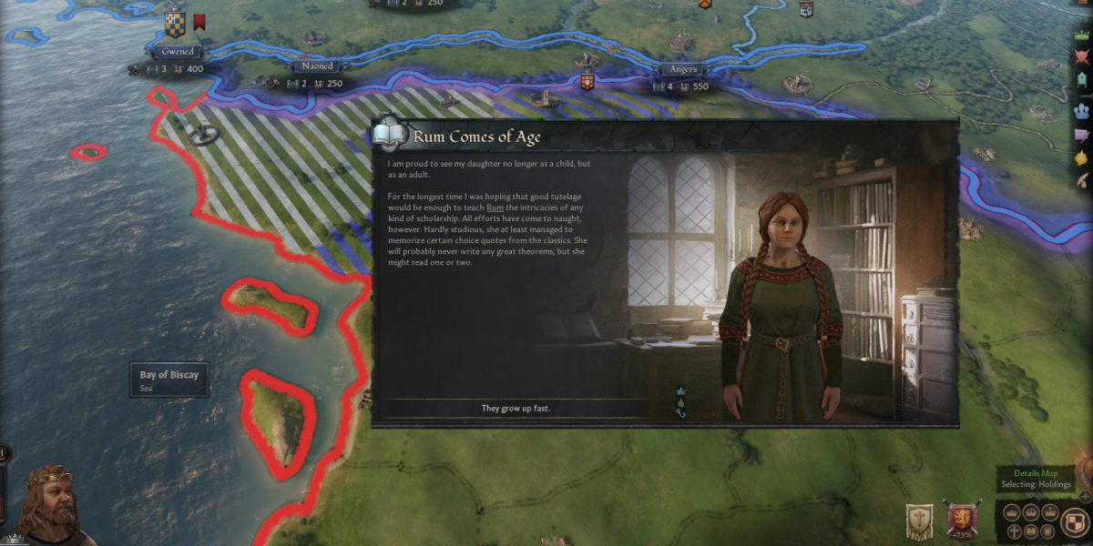 Crusader Kings III's first name suggestion for my daughter was Rum. I couldn't resist.