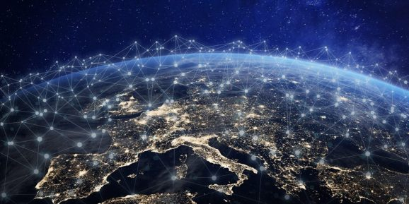 European telecommunication network connected over Europe, France, Germany, UK, Italy, concept about internet and global communication technology for finance, blockchain or IoT.