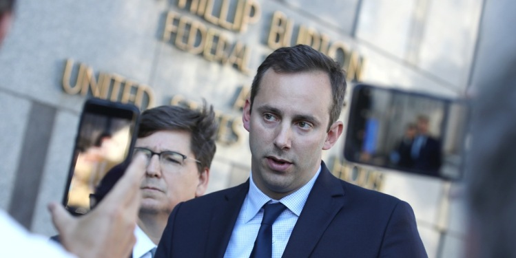 SAN FRANCISCO, CALIFORNIA - SEPTEMBER 24: Former Google and Uber engineer Anthony Levandowski gives a statement to reporters after a court appearance at the Phillip Burton Federal Building and U.S. Courthouse on September 24, 2019.