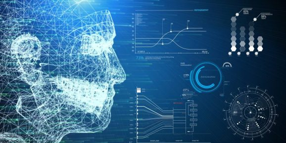 3D illustration wireframe human AI system and infographic information scanner HUD interface on blue background. Business VR technology and medical. Digital transformation disruption database network