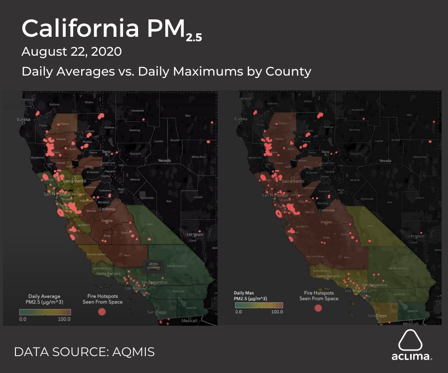On August 22, the daily average PM2.5 levels in the Bay Area were lower than inland, but the daily maximums were at least as high in the Bay Area as inland.