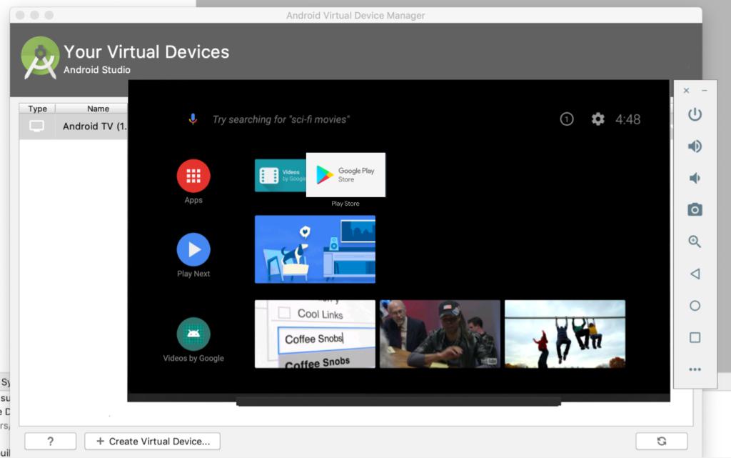 Android TV emulator Google Play Store