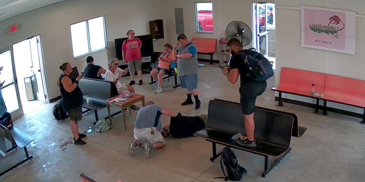 A mock medical emergency takes place inside a mock bus station for the ASAPS data set