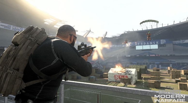 Fighting in the stadium in Warzone.