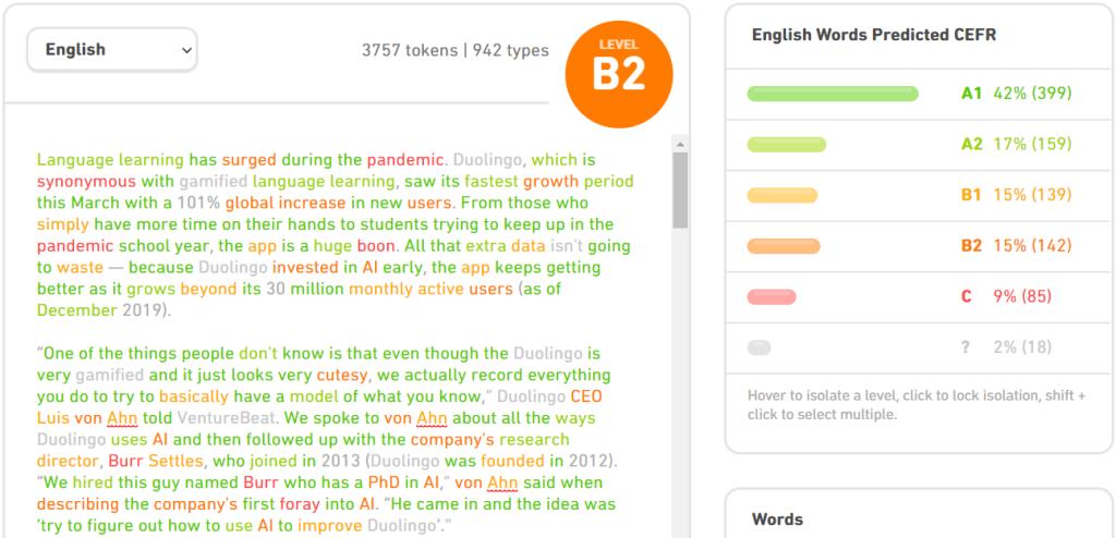 Duolingo CEFR Checker article