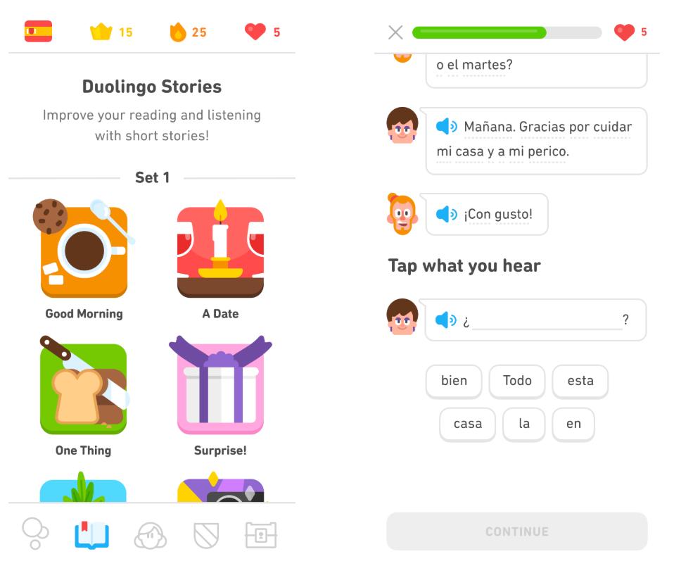 Duolingo Stories feature