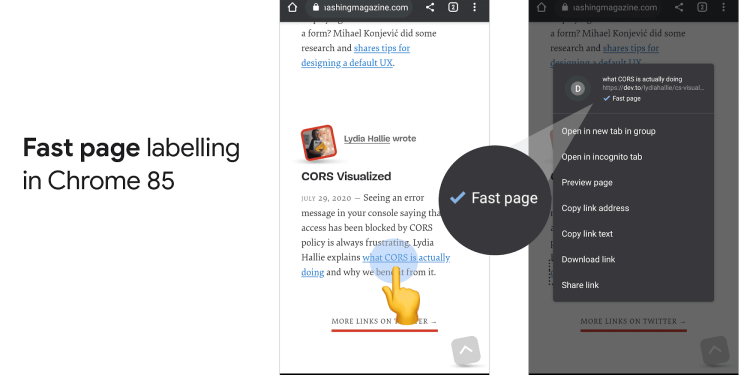 Chrome 85 fast page labelling