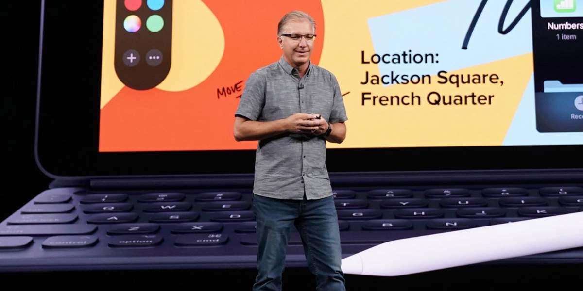 Newly minted Apple Senior VP of Worldwide Marketing Greg Joswiak presents recent iPad announcements at an earlier media event.