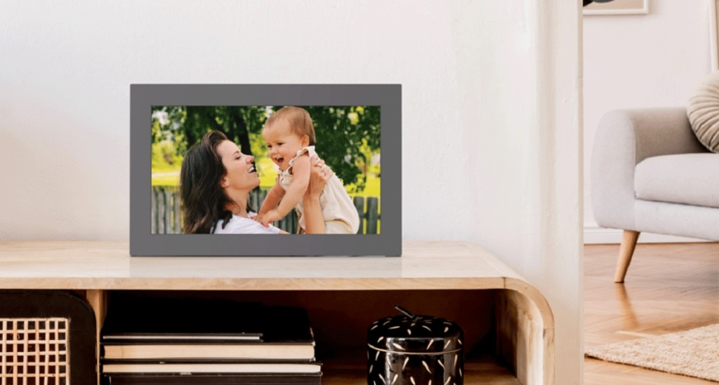 The Meural WiFi Photo Frame has a 15.6-inch tall screen. It can display in landscape or portrait.
