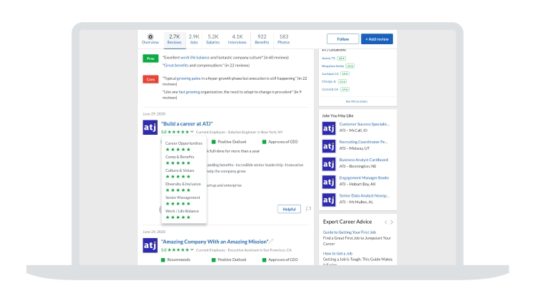 Employees can now rate companies based on their diversity and inclusion practices.