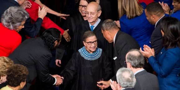 Supreme Court Justice Ruth Bader Ginsburg arrives for President Barack Obama's State of the Union address in the Capitol on Tuesday, Jan. 20, 2015.