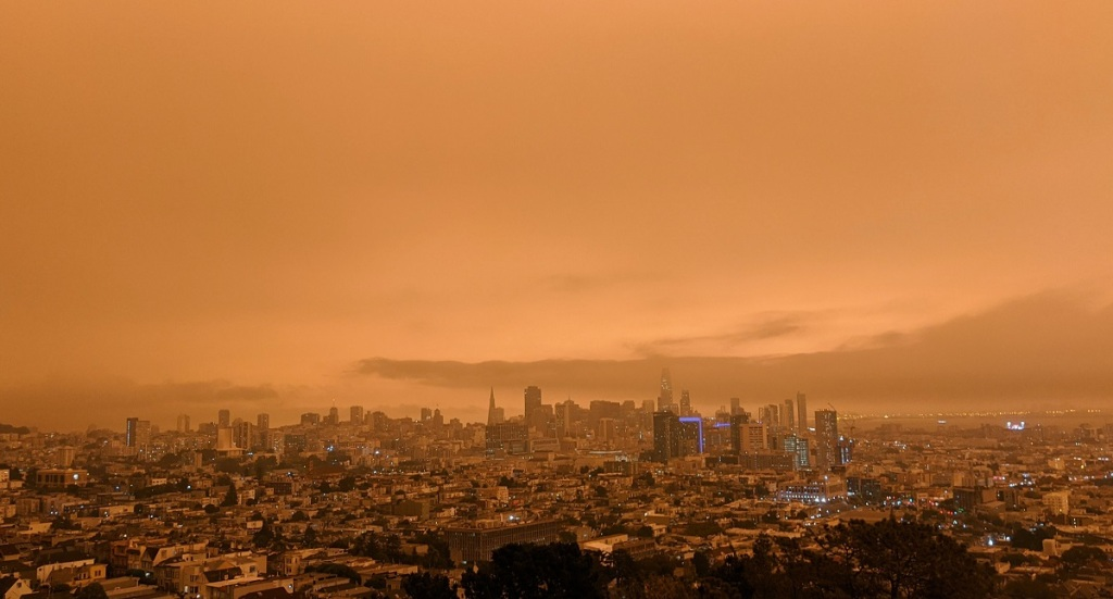 The Bay Area air is smoky.