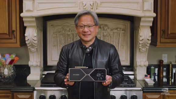 Nvidia chief executive Jensen Huang holds an RTX 3080.