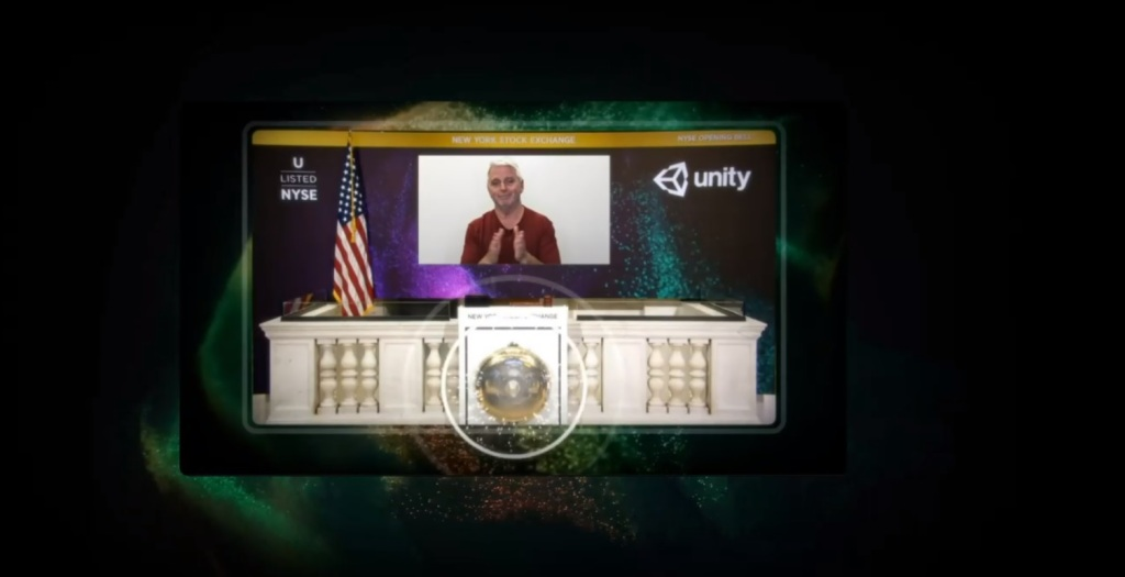 Unity employees and John Riccitiello ring the NYSE opening bell.