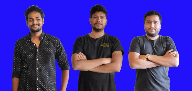 Hubilo cofounder and CEO Vaibhav Jain (center), flanked by CTO Mayank Agarwal (right) and